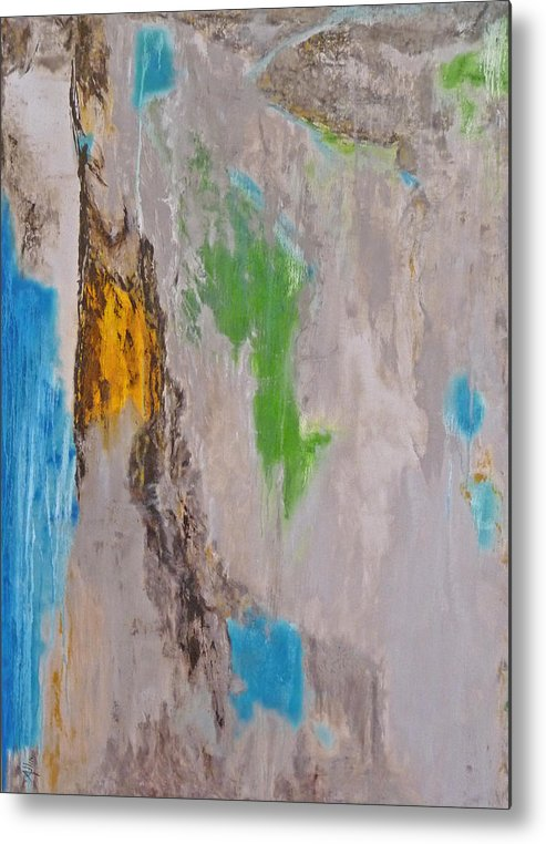Abstract Metal Print featuring the painting Peyote Dreams by Cheryl Allin