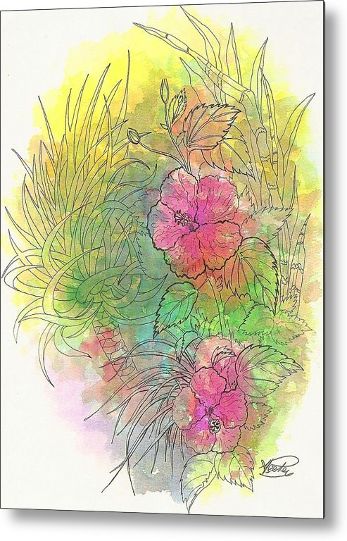 Flowers Metal Print featuring the drawing Pink Hibiscus by George I Perez