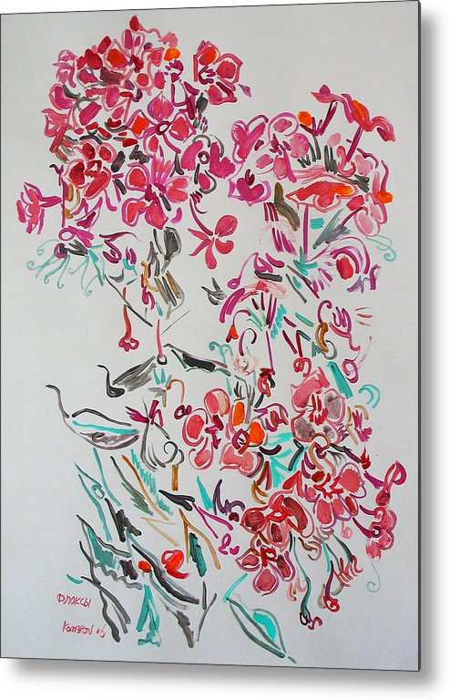 Phlox Metal Print featuring the painting Pink Phloxes by Vitali Komarov
