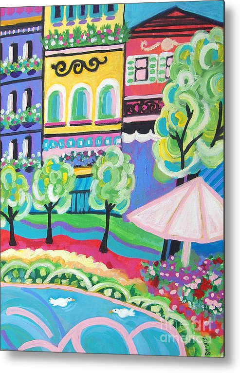 Folk Metal Print featuring the painting Pond Garden Boutiques On The Avenue by Karen Fields