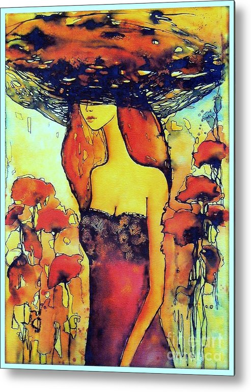 Red Metal Print featuring the painting Poppies Lady by Suzann Sines