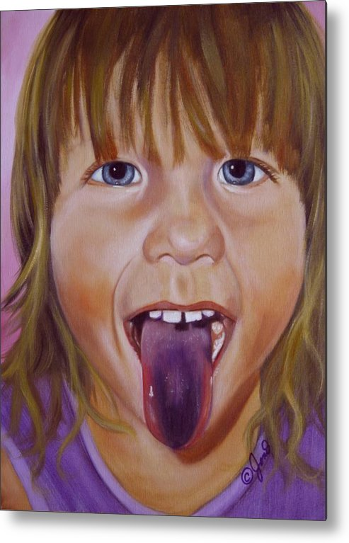 Child Metal Print featuring the painting Popsicle Tongue by Joni McPherson