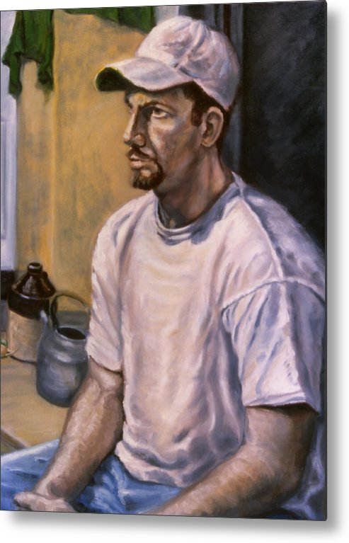 Man Metal Print featuring the painting Portrait Mark by John Clum