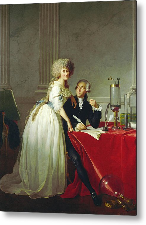 19th Century Art Metal Print featuring the painting Portrait Of Antoine-laurent Lavoisier And His Wife by Jacques-Louis David