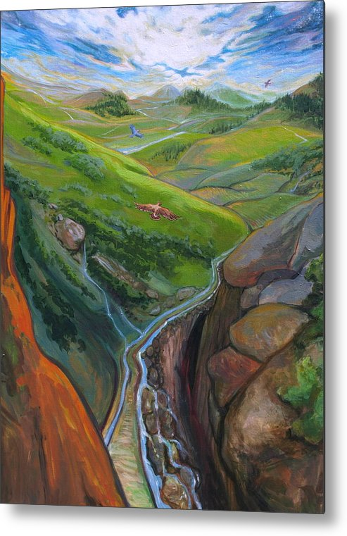 Landscape Metal Print featuring the painting Portrait Of Psalms by Jill Iversen