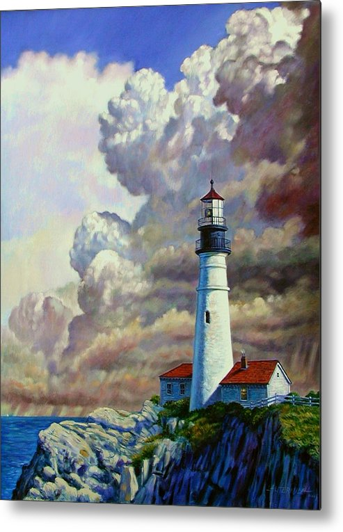 Lighthouse Metal Print featuring the painting Powering Up by John Lautermilch