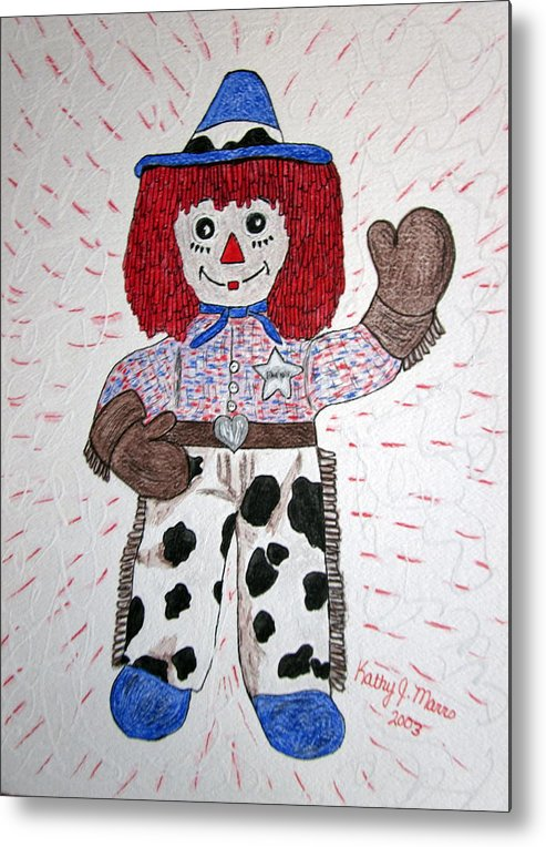 Raggedy Andy Metal Print featuring the painting Raggedy Andy Cowboy by Kathy Marrs Chandler