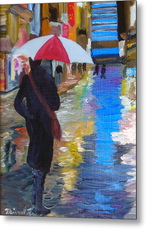 Umbrella Metal Print featuring the painting Rainy New York by Michael Lee