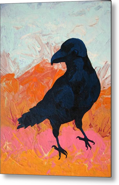 Raven Metal Print featuring the painting Raven I by Dodd Holsapple