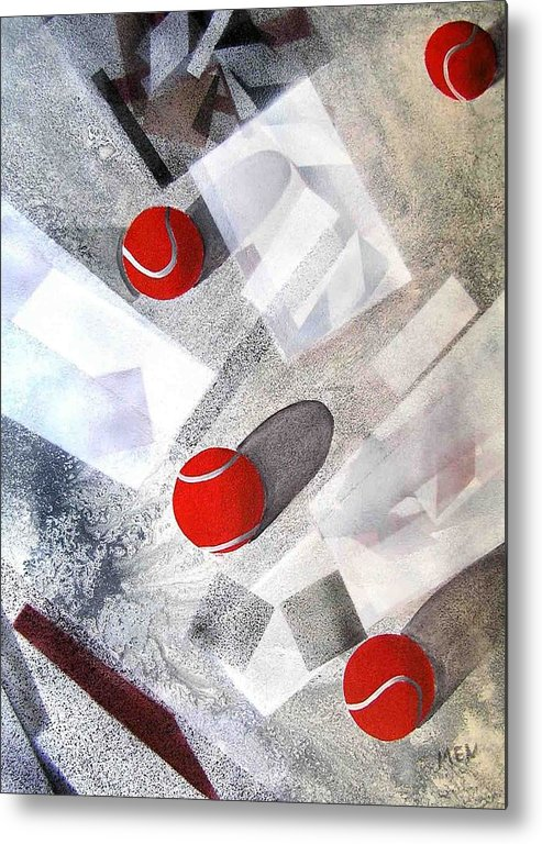 Tennis Balls Metal Print featuring the painting Red Tennis Balls On White Sand by Evguenia Men