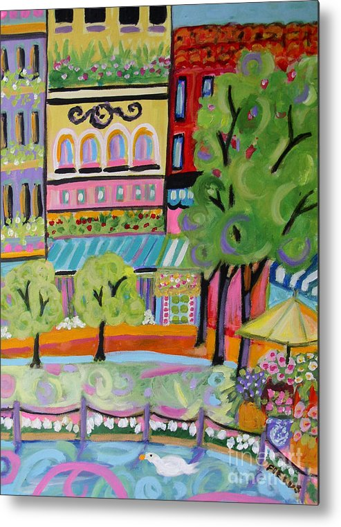Cityscape Metal Print featuring the painting Reflections In The Park by Karen Fields