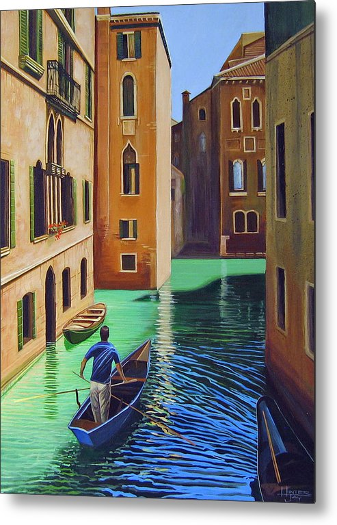 Canal In Venice Metal Print featuring the painting Remembering Venice by Hunter Jay