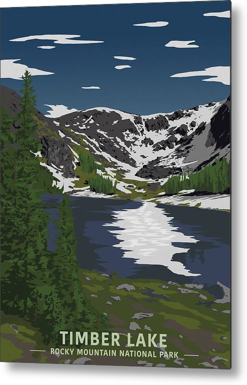 Timber Metal Print featuring the digital art Rocky Mountain by Sketchbook Ink