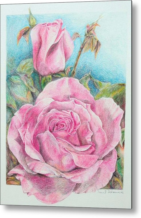 Flower Metal Print featuring the painting Rose by Muriel Dolemieux