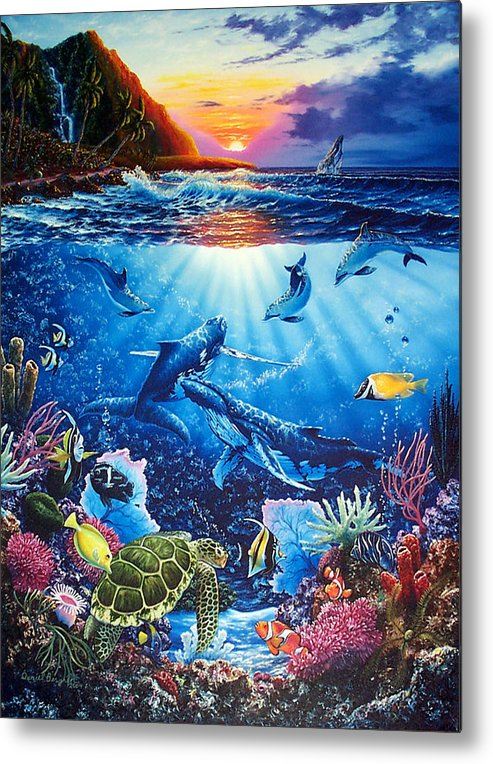 Whales Metal Print featuring the painting Sacred Waters by Daniel Bergren