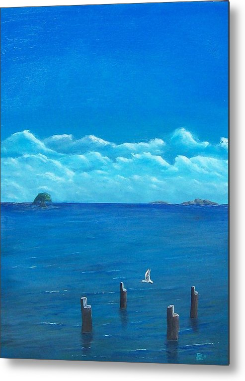 Seascape Metal Print featuring the painting Seagull Seascape IIi by Tony Rodriguez