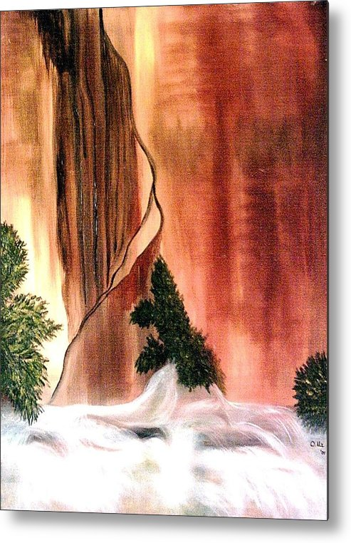 Waterfall Metal Print featuring the painting Sedona's Waterfall by Ofelia Uz