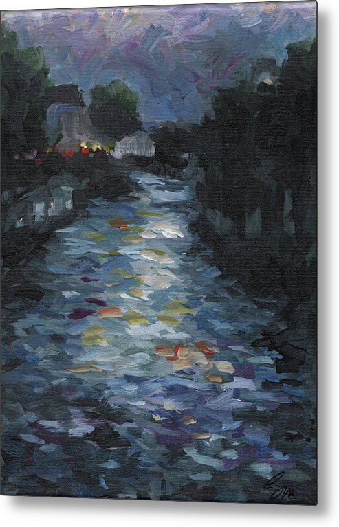 Landscape Metal Print featuring the painting Seine by Susan Moore