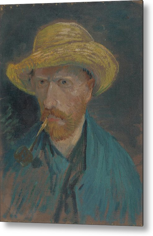 69dd90b4441 Vincent Van Gogh Metal Print featuring the painting Self-portrait With Straw  Hat And Pipe