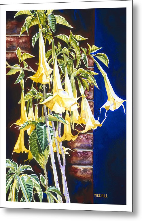 Angel Trumpets Yellow Bush Tree Bricks Blue Background Flowers Metal Print featuring the painting Seventh Heaven by Mike Hill