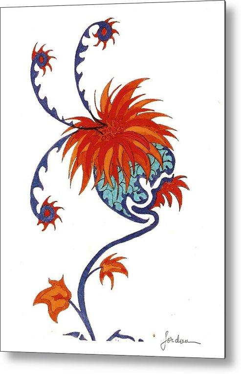 Orange Blue Surreal Artwork Metal Print featuring the painting Singing Flower by Jordana Sands