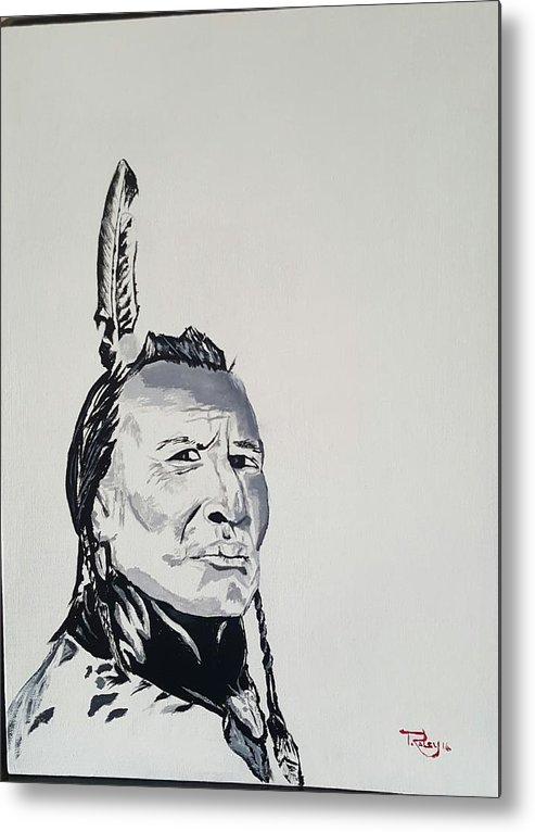 Native American Metal Print featuring the painting Sioux Warrior by Todd Raley