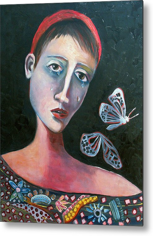 Butterfly Girl Red Sad Crying Pinks Reds Blues Metal Print featuring the painting Skeleton Butterfly by Niki Sands