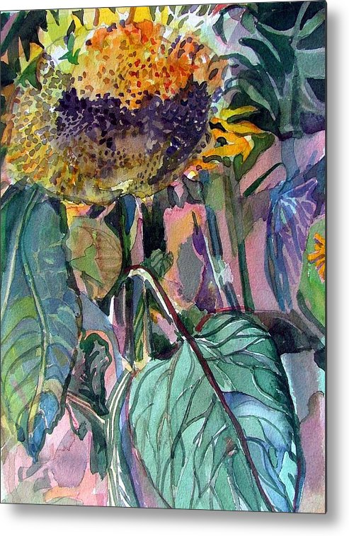 Sunflower Metal Print featuring the painting Sleepy Sunflower by Mindy Newman