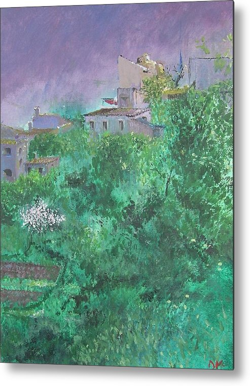 Impressionist Metal Print featuring the painting Solitary Almond Tree In Blossom Mallorcan Valley by Lizzy Forrester