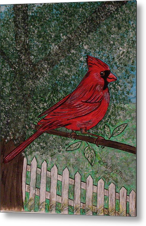 Springtime Metal Print featuring the painting Springtime Red Cardinal by Kathy Marrs Chandler
