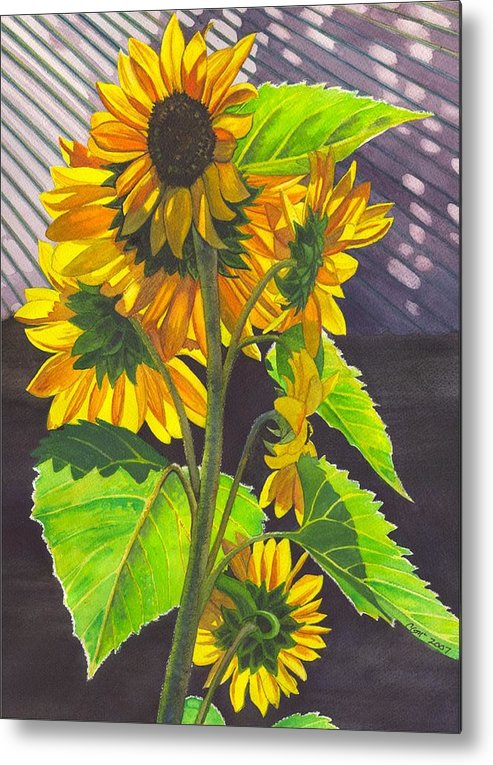 Sunflowers Metal Print featuring the painting Stalk Of Sunflowers by Catherine G McElroy