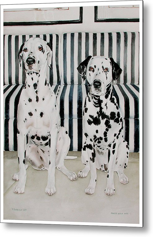 Portrait Metal Print featuring the painting Stanley And Stelle by Eileen Hale