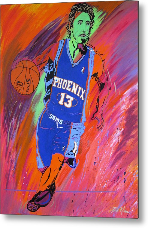 Steve Nash Paintings Metal Print featuring the painting Steve Nash-vision Of Scoring by Bill Manson