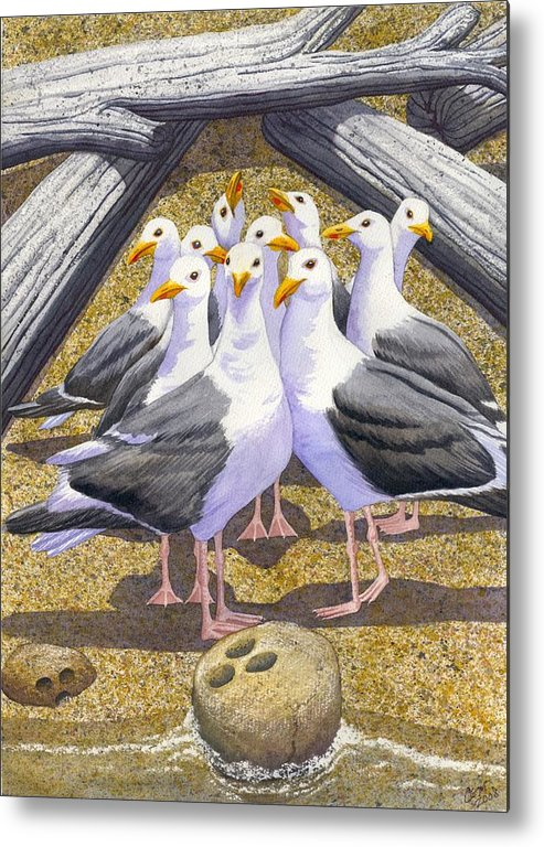 Beach Metal Print featuring the painting Strike by Catherine G McElroy