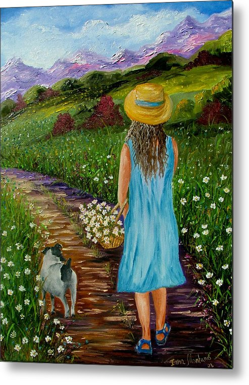 Girl Metal Print featuring the painting Summer Path by Inna Montano