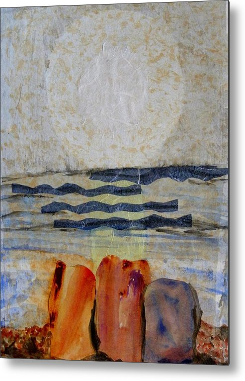 Mixed Media On Paper Metal Print featuring the mixed media Sun Fog Rocks by Patricia Bigelow