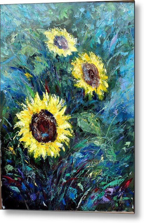 Sunflowers Metal Print featuring the painting Sunflowers by Emmanuel Gamonez