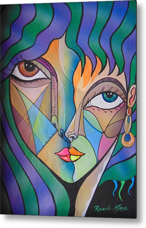 Portrait. Cubism Pop Woman Face Art Deco Metal Print featuring the painting Tamara by Ricardo Maya