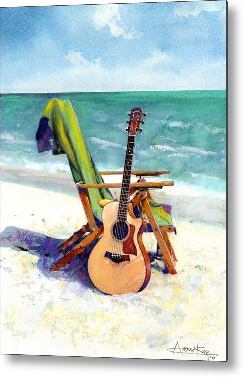 Guitar Paintings Metal Print featuring the painting Taylor At The Beach by Andrew King