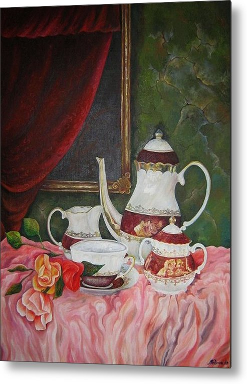 Still Life Metal Print featuring the painting Tea Time by Netka Dimoska