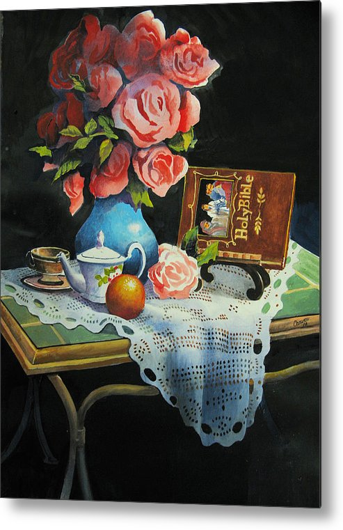 Stillife Metal Print featuring the painting Tea Time by Robert Carver