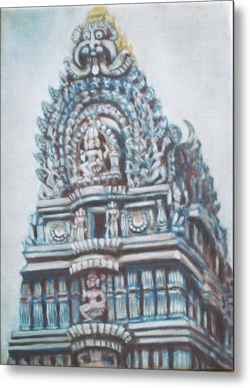 Temple Metal Print featuring the painting Temple by Usha Shantharam