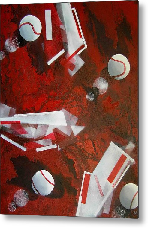 Tennis Balls Metal Print featuring the painting tennis on Mars by Evguenia Men