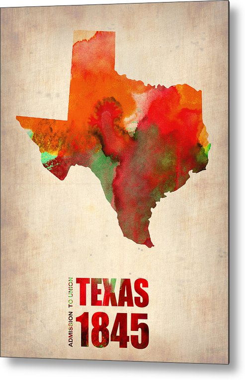 Texas Metal Print featuring the digital art Texas Watercolor Map by Naxart Studio