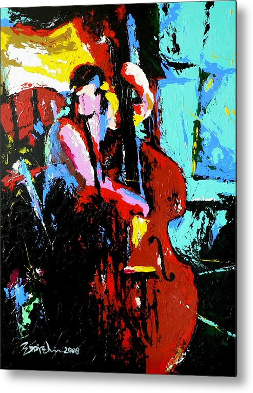 Jazz Music Metal Print featuring the painting The Bassist by Eddie Lim