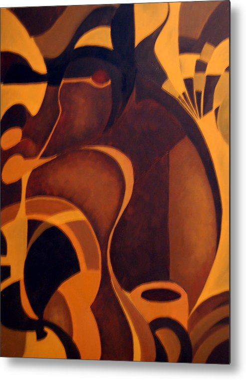 Abstract Metal Print featuring the painting The Earth Rises Up by DeLa Hayes Coward