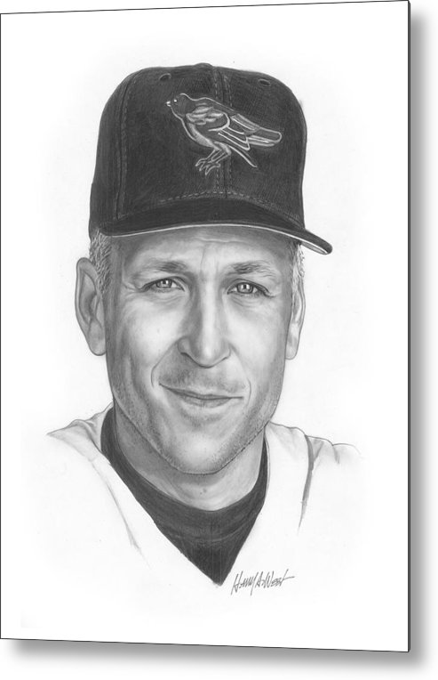 Cal Ripken Metal Print featuring the drawing The Iron Man II by Harry West