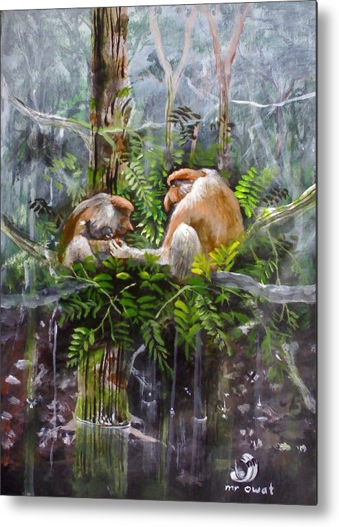 Painting Probosis Monkey Borneo Rare Animal Long Nose Metal Print featuring the painting The Probosis Monkey Family by Muyang Kumundan