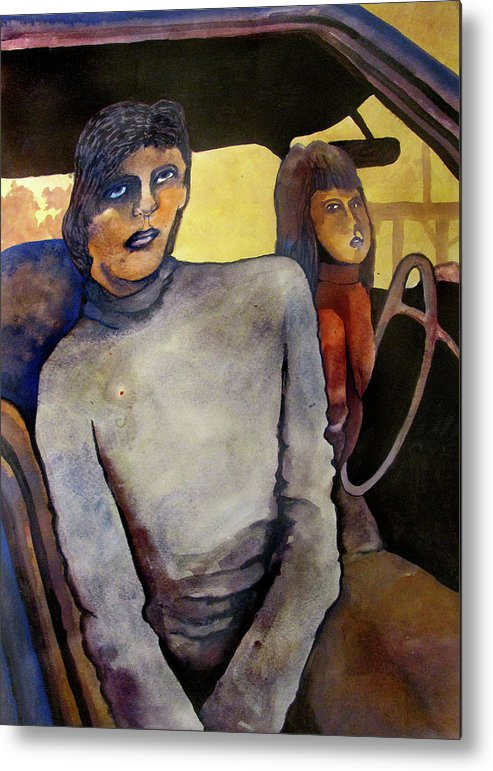 Woman Girl Daughter Portrait Car Interior Steering Wheel Emotion Shadows Contrast Metal Print featuring the painting The Road by James Huntley