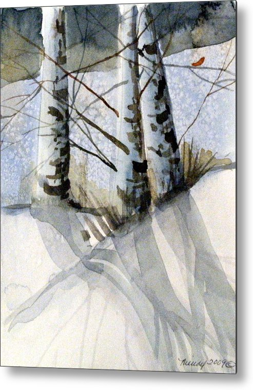 Birches Metal Print featuring the painting The Tiny Bird by Mindy Newman